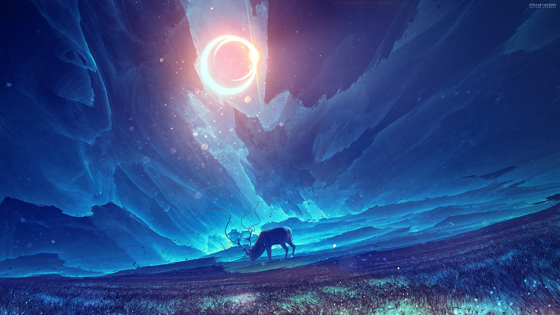 Horn Anime Sky Blue Moon Animal Wallpaper 1920x1080 602873 Wallpaperup Latar Belakang Ilustrasi Poster Fantasi