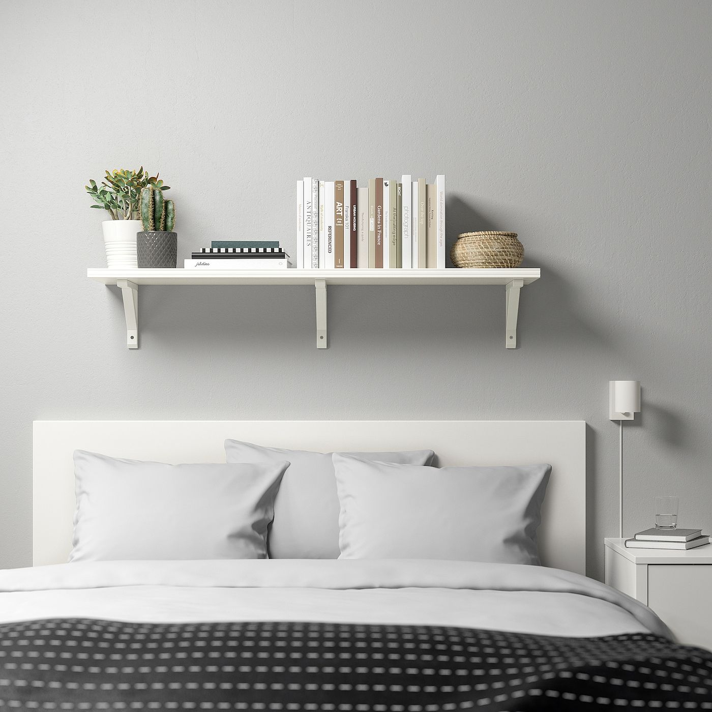 Regal Hinter Bett Bergshult / Sandshult Wall Shelf - White/white Stained Aspen - Ikea | Schlafzimmer Wandregale, Regalwand, Wandregal Weiß