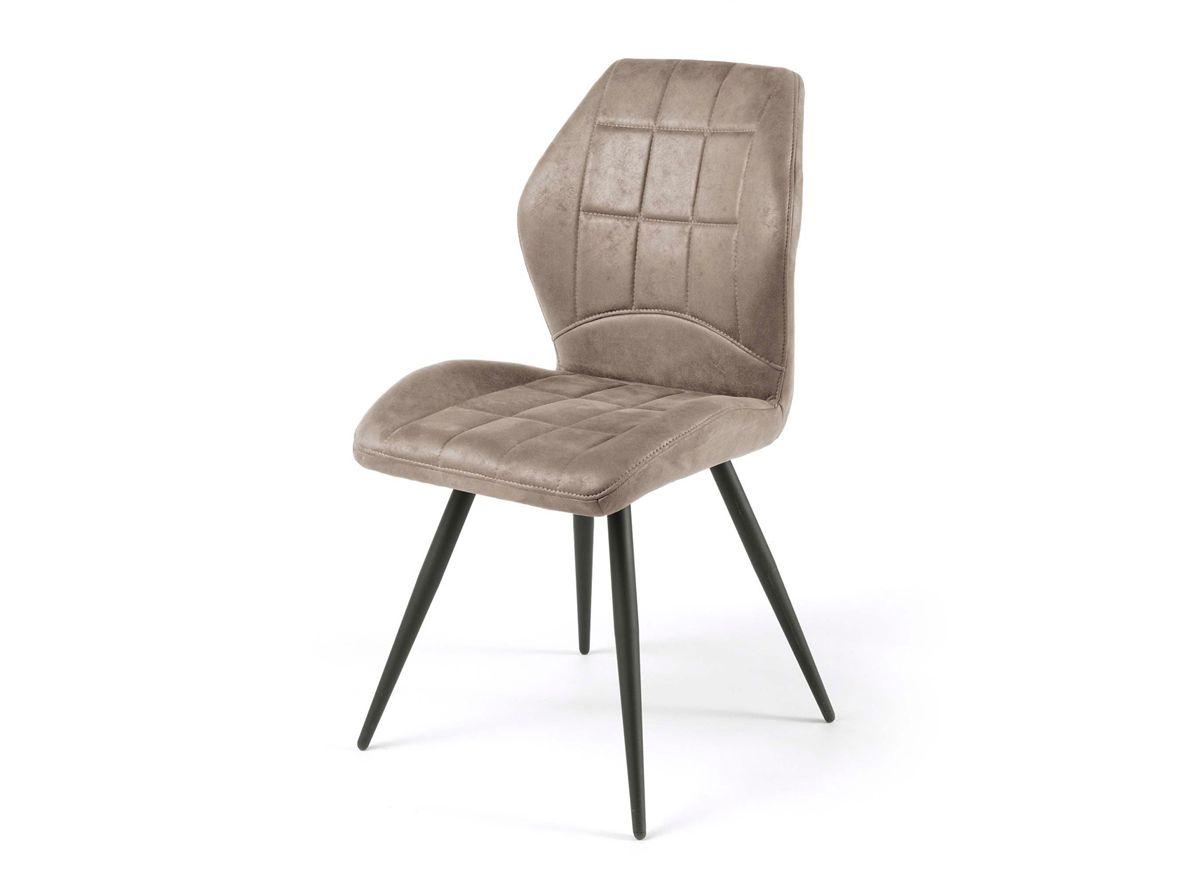 Duffy Cette Chaise Moderne Beneficie Egalement D Un Design Tres Actuel Tissu Tres Doux En 100 Polyester Coloris Taupe Un Pietement Conique En Metal Fin