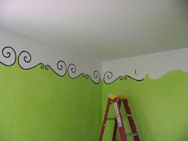 wandbemalung kinderzimmer weie decke grne wandgestaltung - Wandbemalung Kinderzimmer