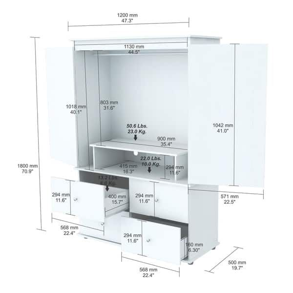 Inval Larcinia White Audio Video Armoire Cabinet   muebles ...