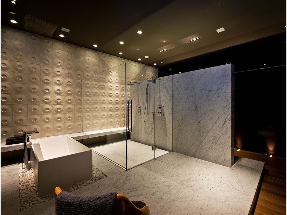 Large Modern Luxury Bathroom With Huge Shower Cabin By The Modern