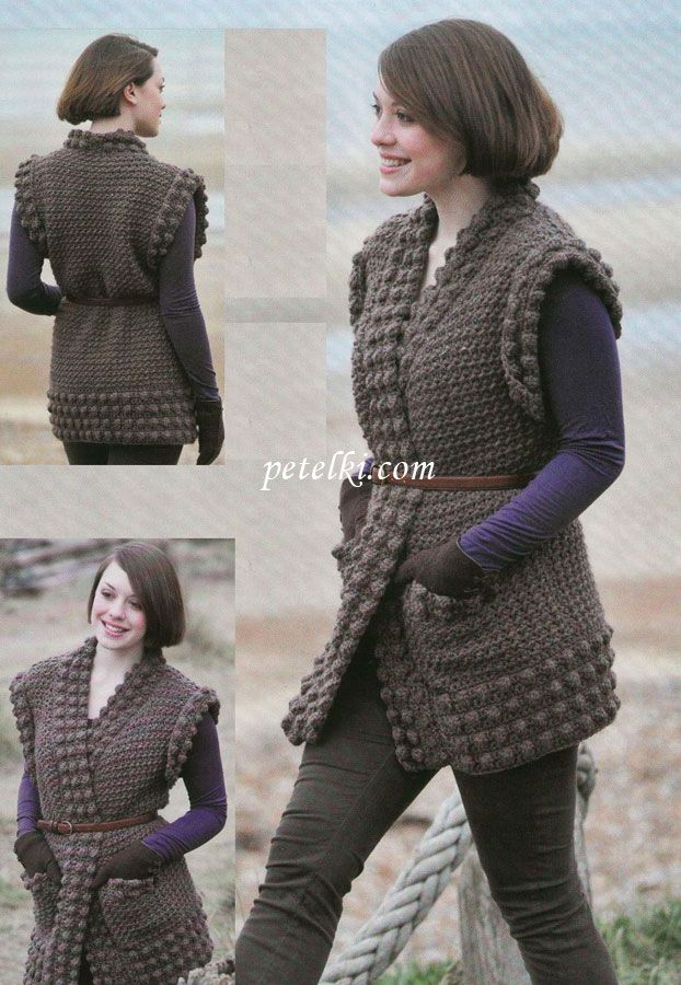 Вязаный жилет крючком   Вязание   Pinterest   Knitting ...