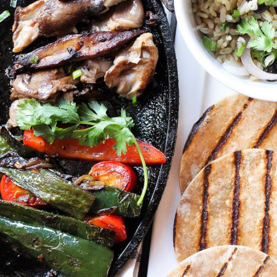 Vegan wild mushroom and portobello fajitas with black beans and rice