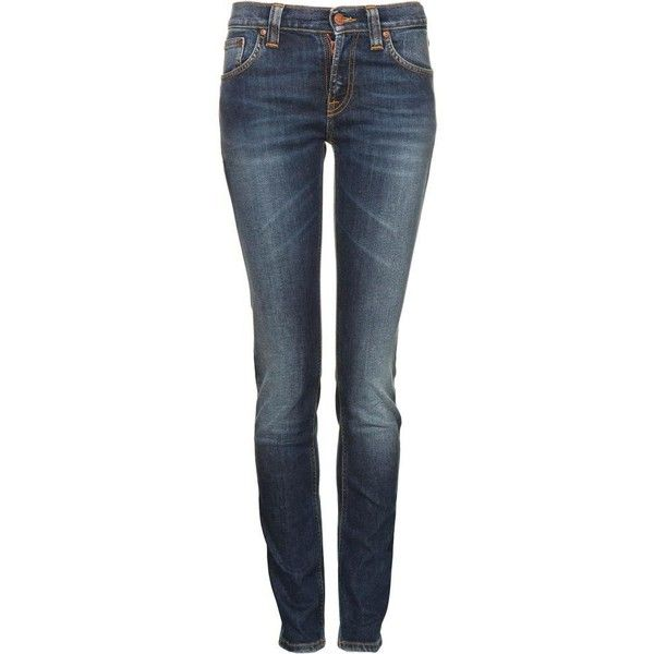 Nudie Women's Tube Kelly Organic Dark Indigo Blue Denim Jeans ($155) ❤ liked on Polyvore