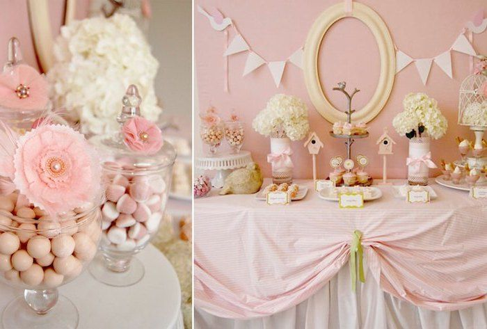 Pink Pastel Theme Birds Places To Have A Baby Shower Candy Jars Dessert Table Cupcakes In 2020 Baby Shower Fun Baby Shower Themes Sweets Table Ideas