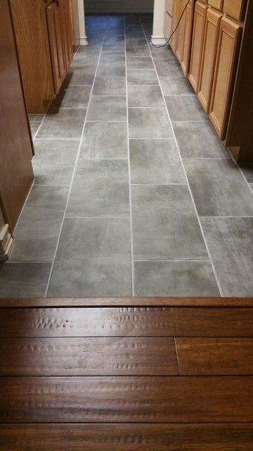 Soft Grey Floor Tile With Titanium Colored Grout Clay