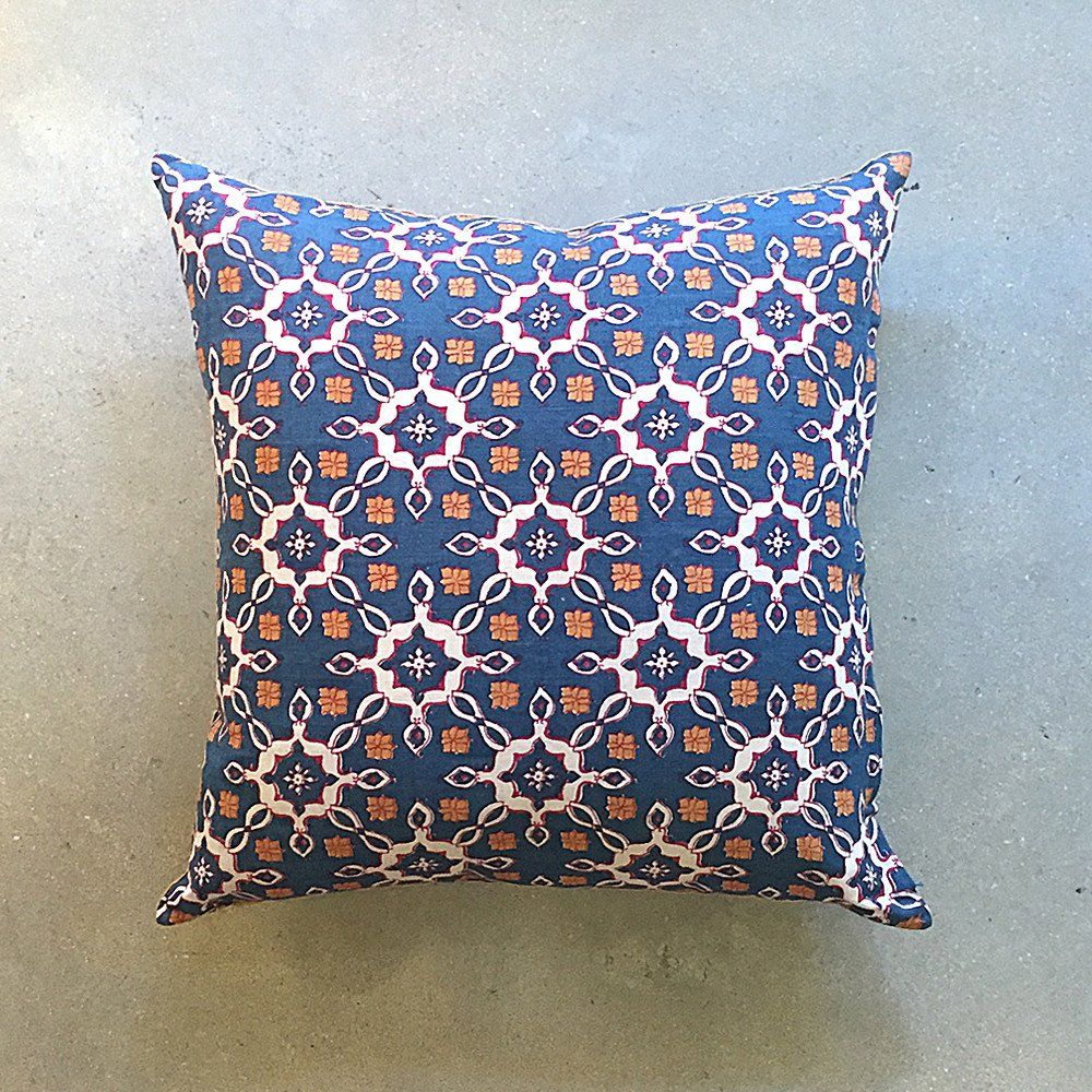 Hand-block printed pillow with hand-stitched edges. 55% linen, 45% cotton.