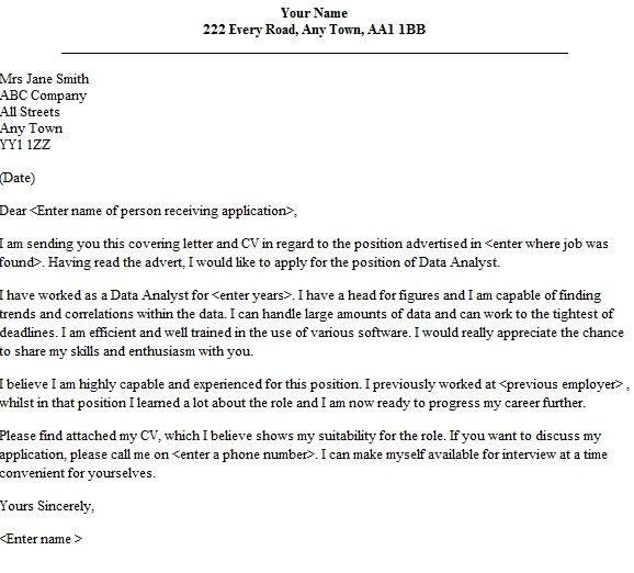 Cover Letter Template Data Analyst #analyst #cover ...