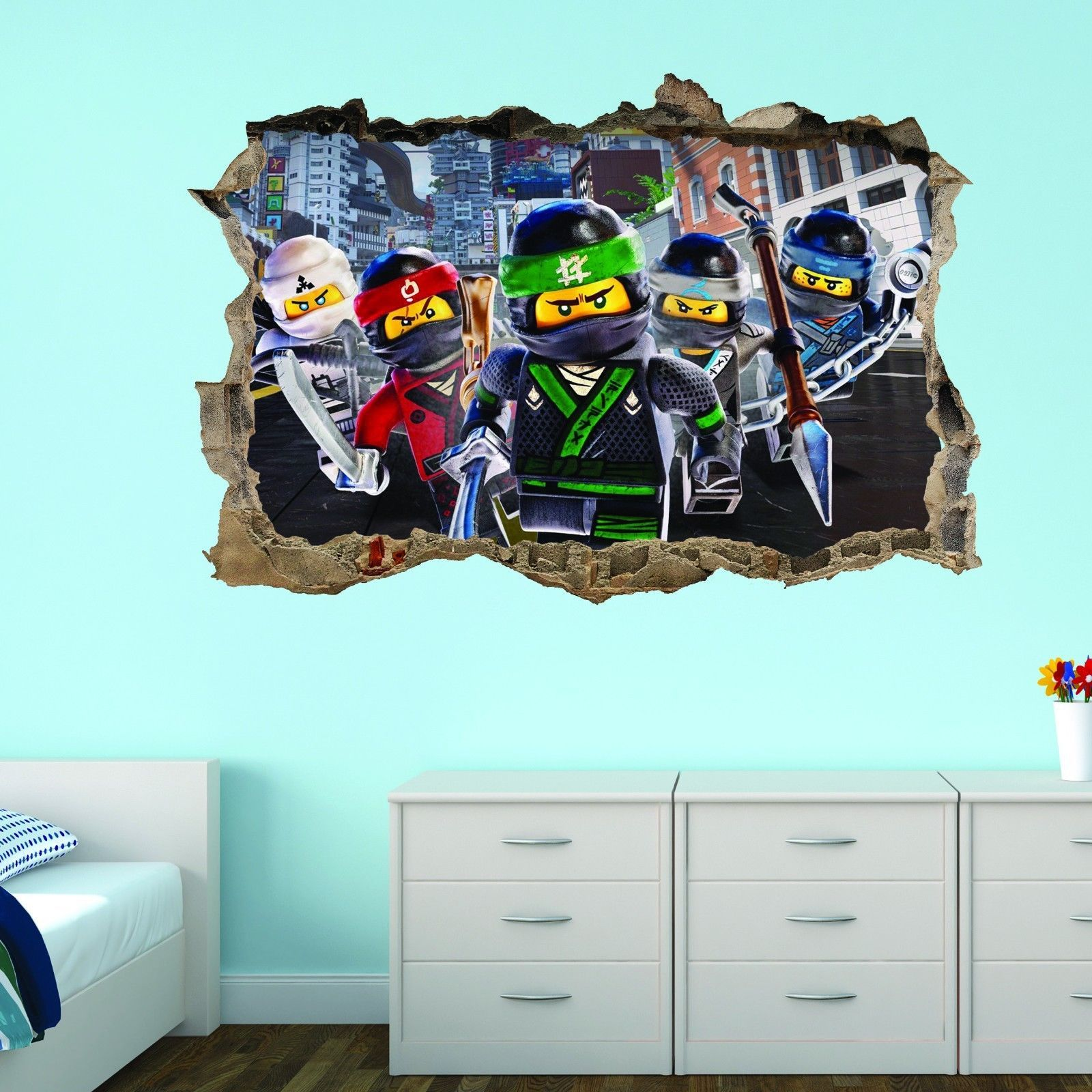Favoriete Lego Ninjago 3D Smashed Cracked Breakout Wall Sticker Superhero IR24
