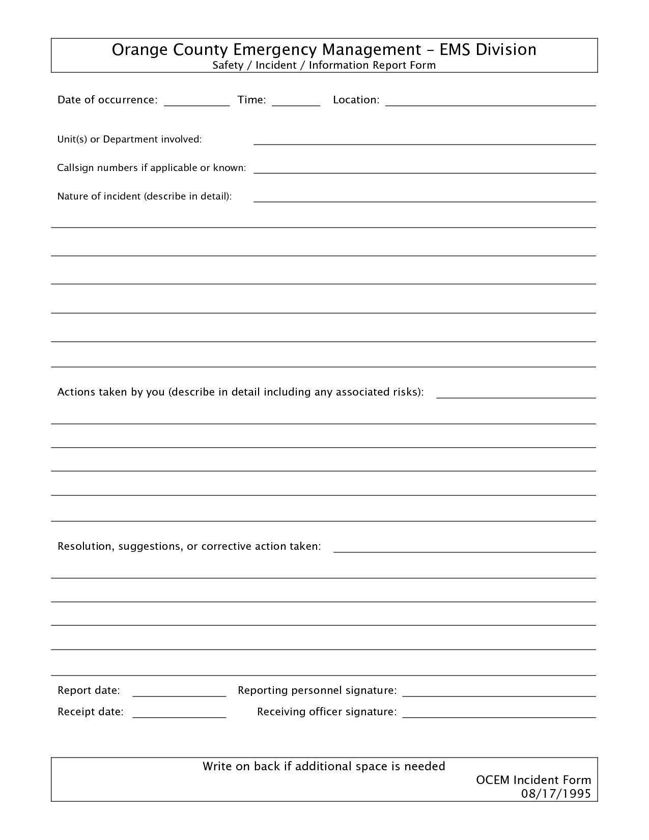 011 Template Ideas Free Incident Report Form Word Blank For Itil