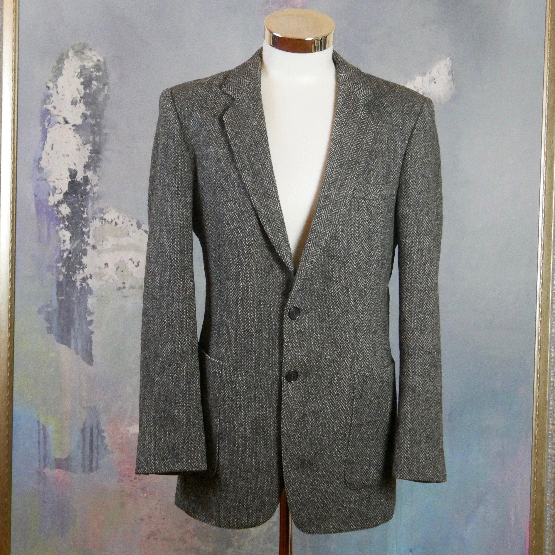 1980s Gardiner Tweed Suit Jacket  Vintage Gray and Powder Blue Herringbone Blazer  Sport Coat  Size 40 Medium  Med  M