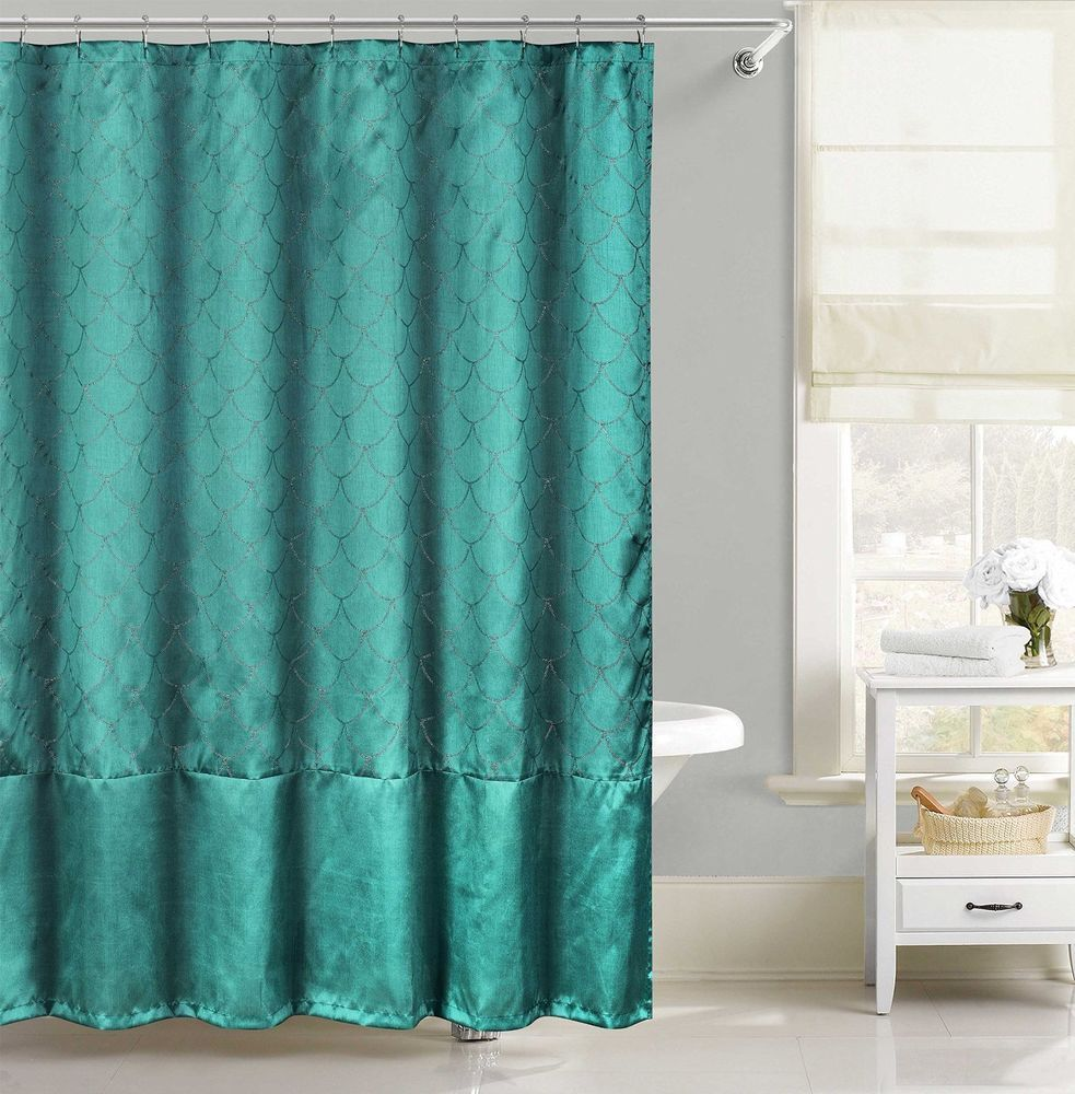 Teal Faux Silk Fabric Shower Curtain Metallic Raised Pin Dot