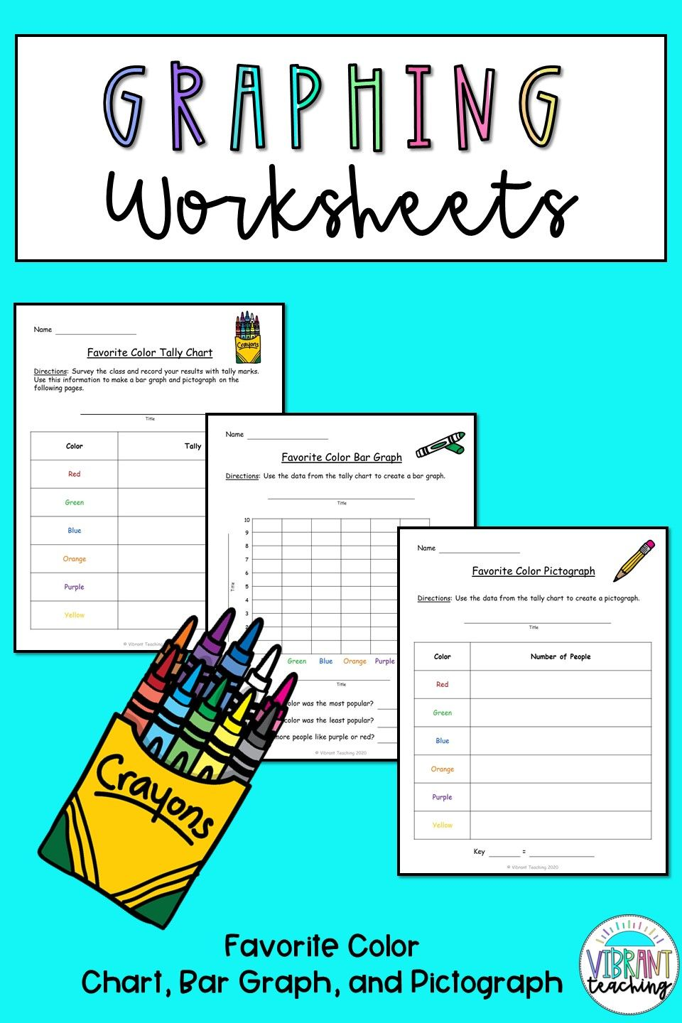 Graphing Worksheets: Favorite Color in 2020   Graphing worksheets [ 1440 x 960 Pixel ]