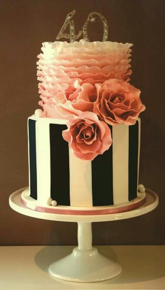 Black and white stripes and pink ruffles Birthday CakeI would