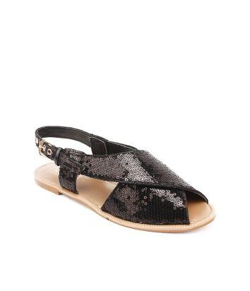 Black Sequined Fabric Peshawari Flat Sandals