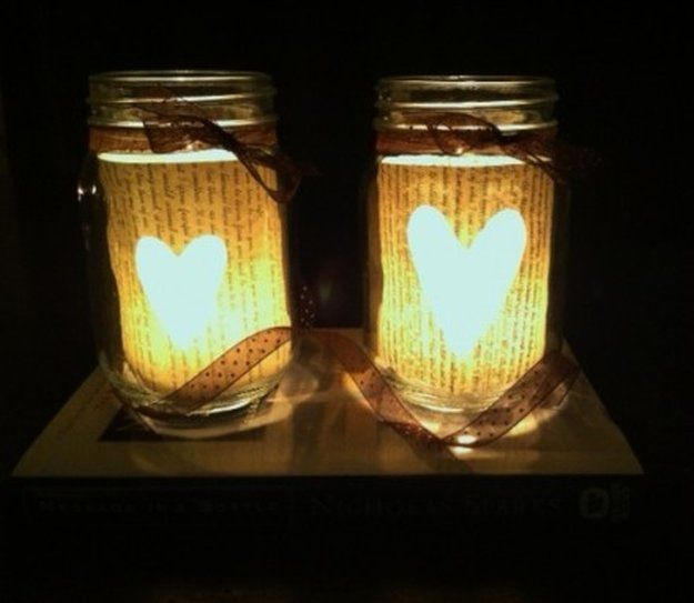 DIY Book Page Mason Jar Candle Holder | Fun and Cute Mini Mason Jar Crafts | Creative Home Decor Ideas, Wedding Favors, Makeup Organizers & more! by DIY Ready at http://diyready.com/23-diy-crafts-with-mini-mason-jars/