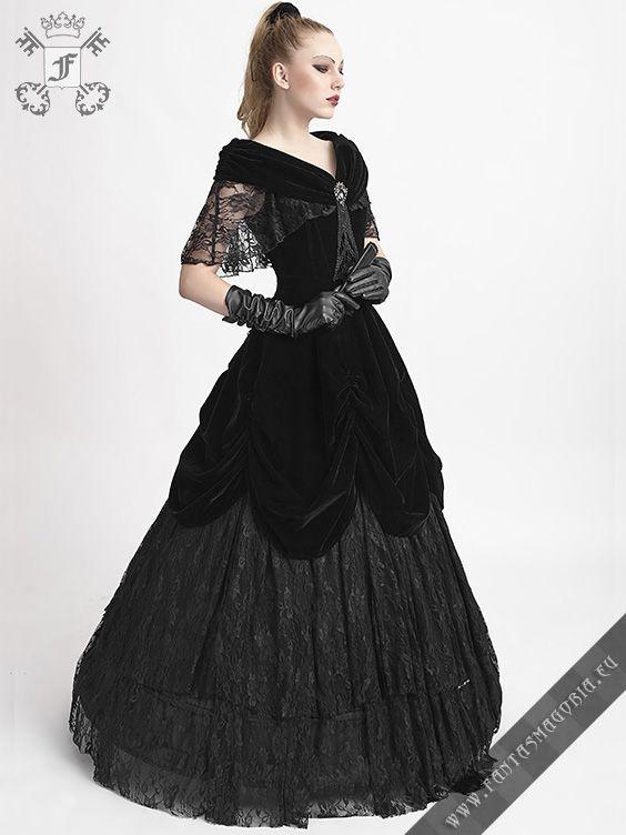 Q-273 Lady de la Morte dress by punk rave Haute couture formal black ...