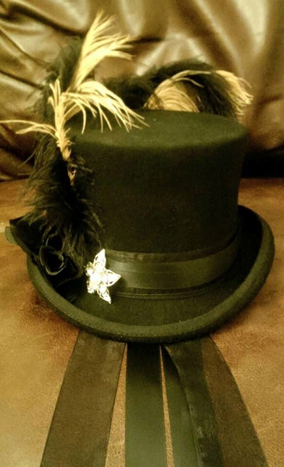 Steampunk Victorian Stevie Nicks Inspired 100% Wool Black Top Hat Feathers  Diamonte Brooch Black Rose 551ba2c0fe6a