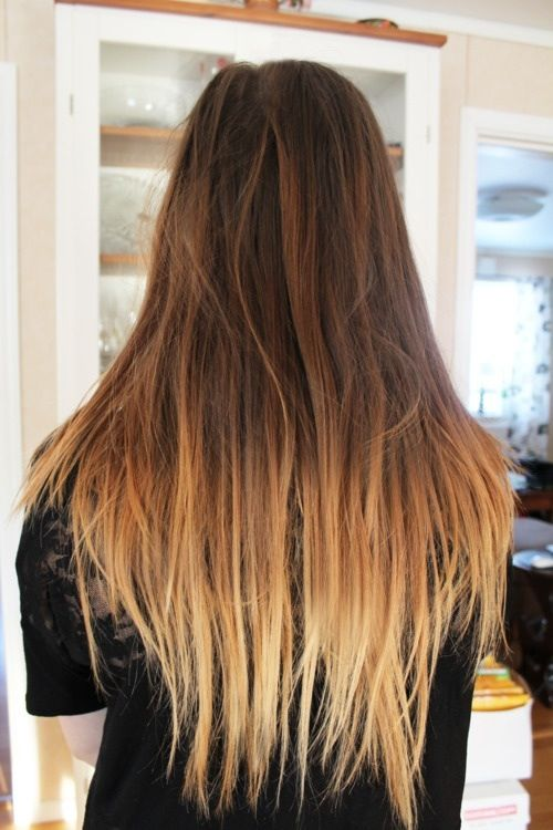 Long straight ombre hair , girl\'s gorgeous pretty brunette hair ...