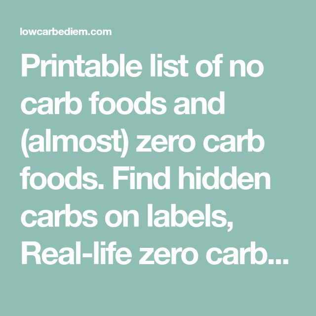 Printable List Of No Carb Foods And (almost) Zero Carb