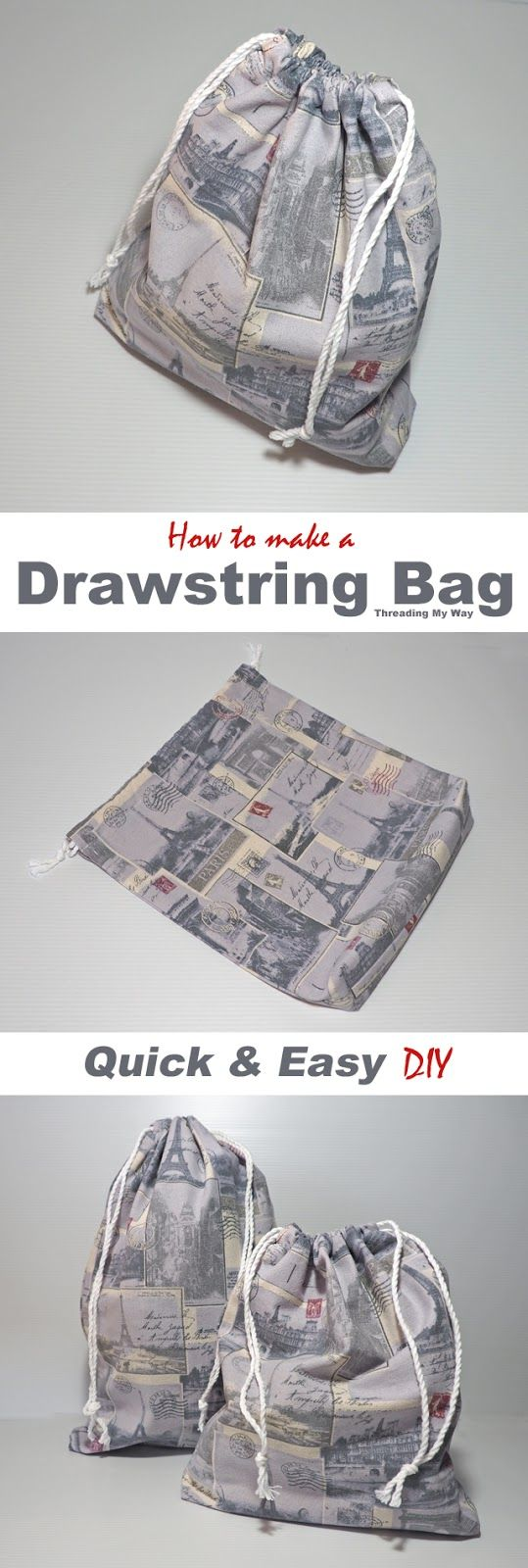 Quick and Easy to make Drawstring Bag ~ Tutorial | DIY | Pinterest ...