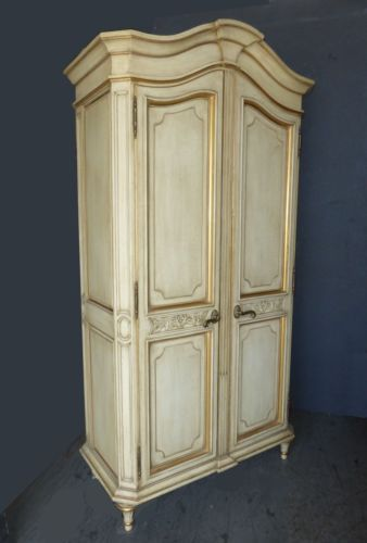 Exceptionnel 1Vtg French Country Provincial KARGES Cream Gold Gilt  · Armoire WardrobeFrench  ...