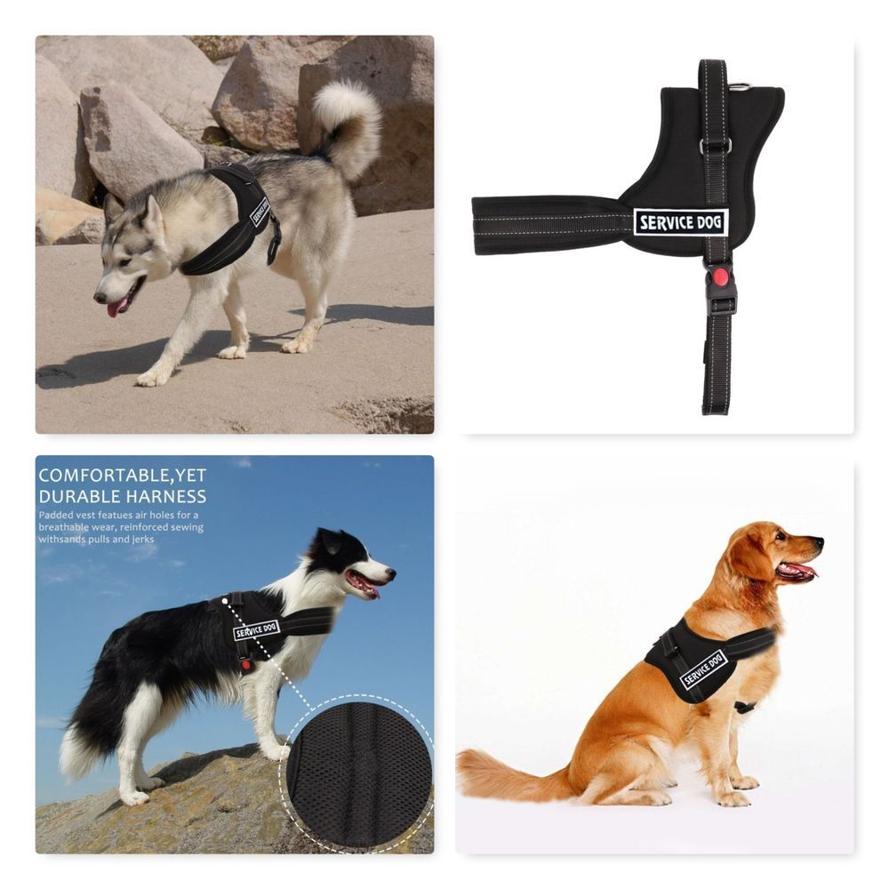Service Dog Vest Harness With 2 Reflective Removable Patches L