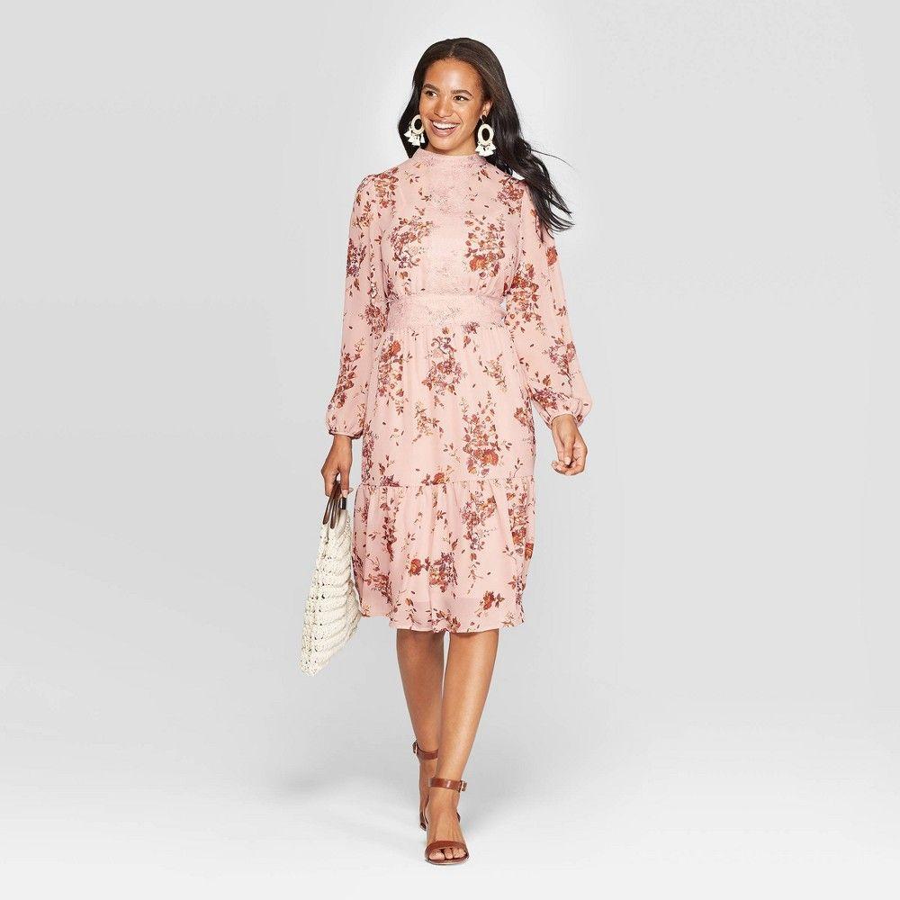 Women S Floral Print Long Sleeve Sheer High Neck Midi Dress Xhilaration Rose Xl Women High Neck Midi Dress Long Sleeve Floral Print Dress Wrap Dress Floral [ 1000 x 1000 Pixel ]