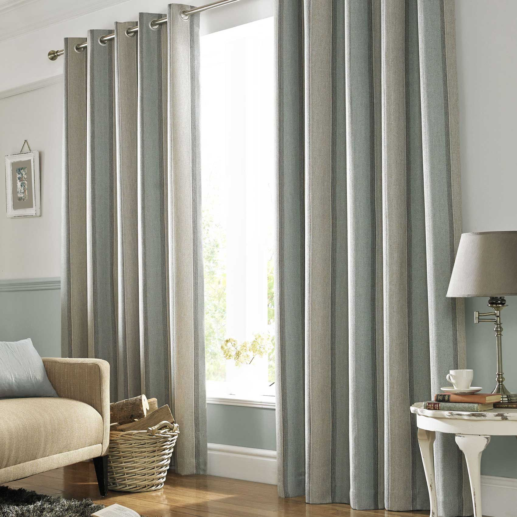 Modern Sophisticated Striped Curtain With A Duck Egg Blue Stripe Eyelet Heading