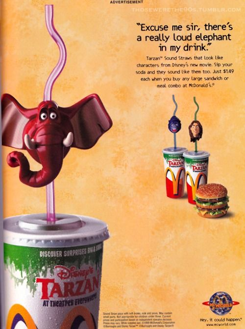 Tarzan Straws From Mcdonalds I Loved These And The Noise