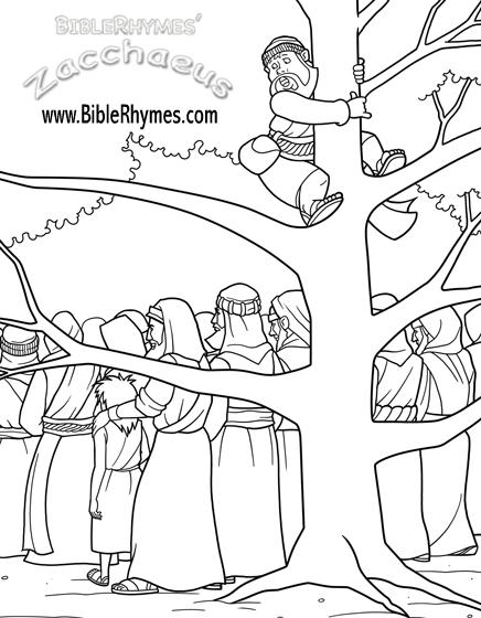 zacchaeus climbs a sycamore tree bible coloring pageszacchaeus