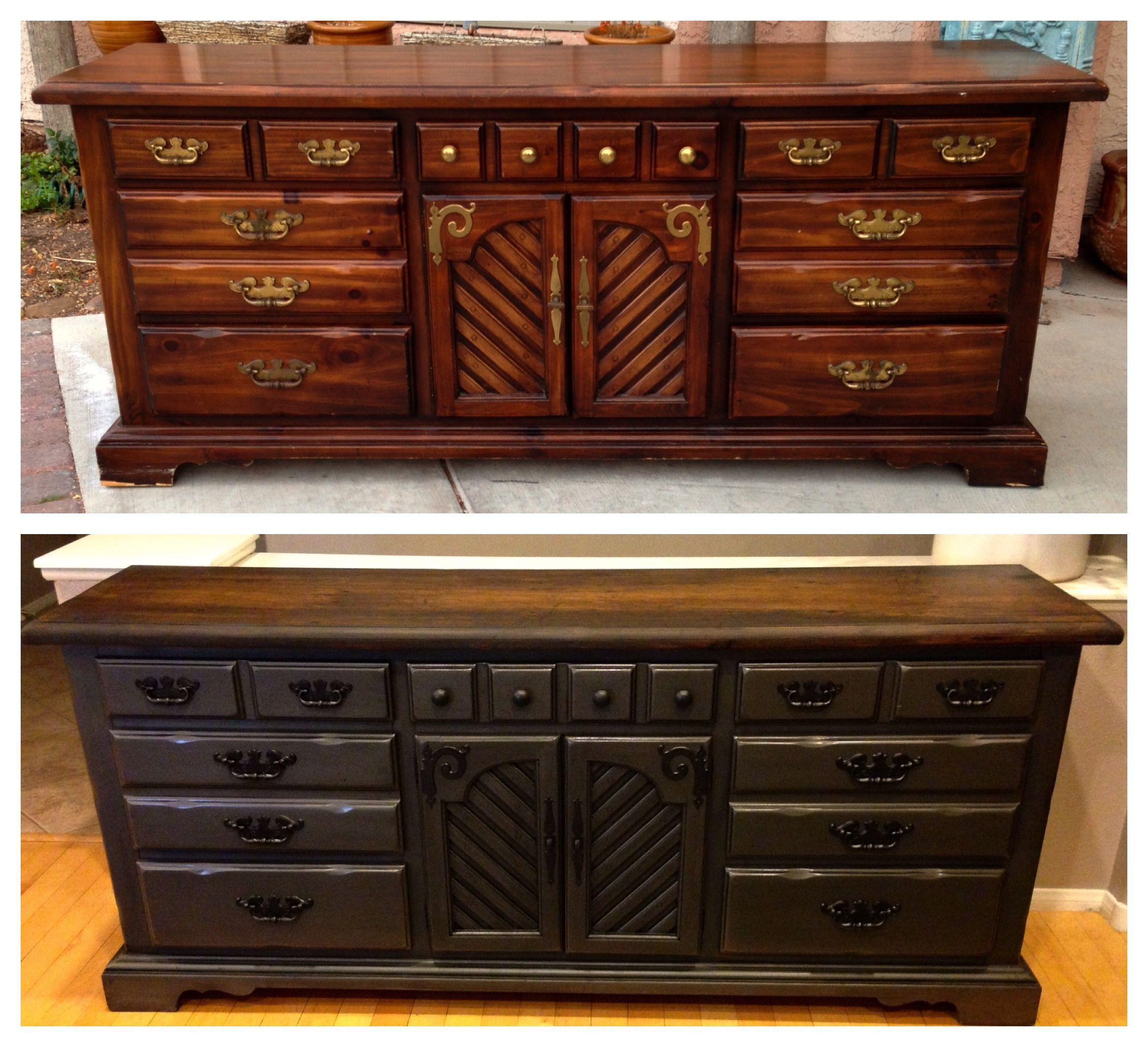 Vintage shabby refinished painted before and after refurbished for Refurbished bedroom furniture