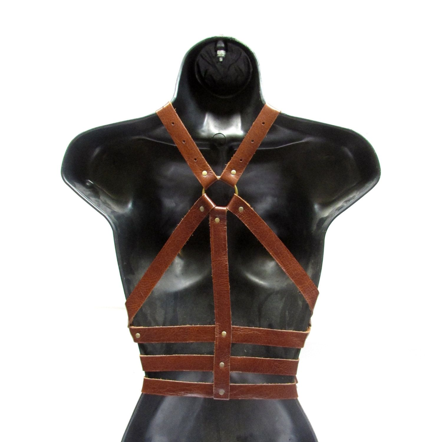 Rust and Antique Brass Leather Fashion Harness - TRIPLE AGENT ... 176679f203593