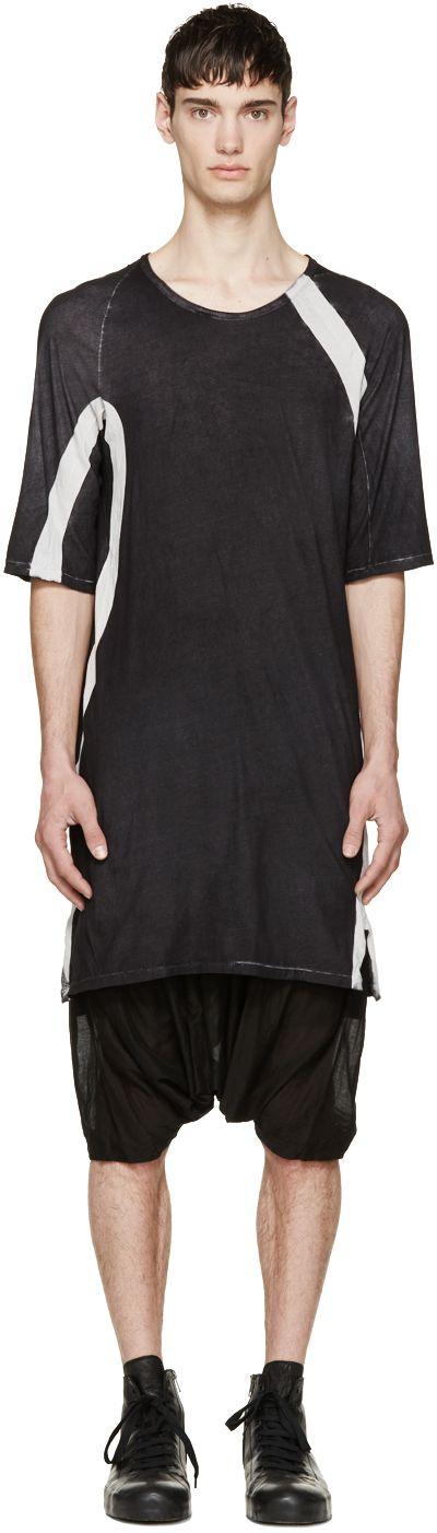 11 by Boris Bidjan Saberi Washed Black & White Long T-Shirt