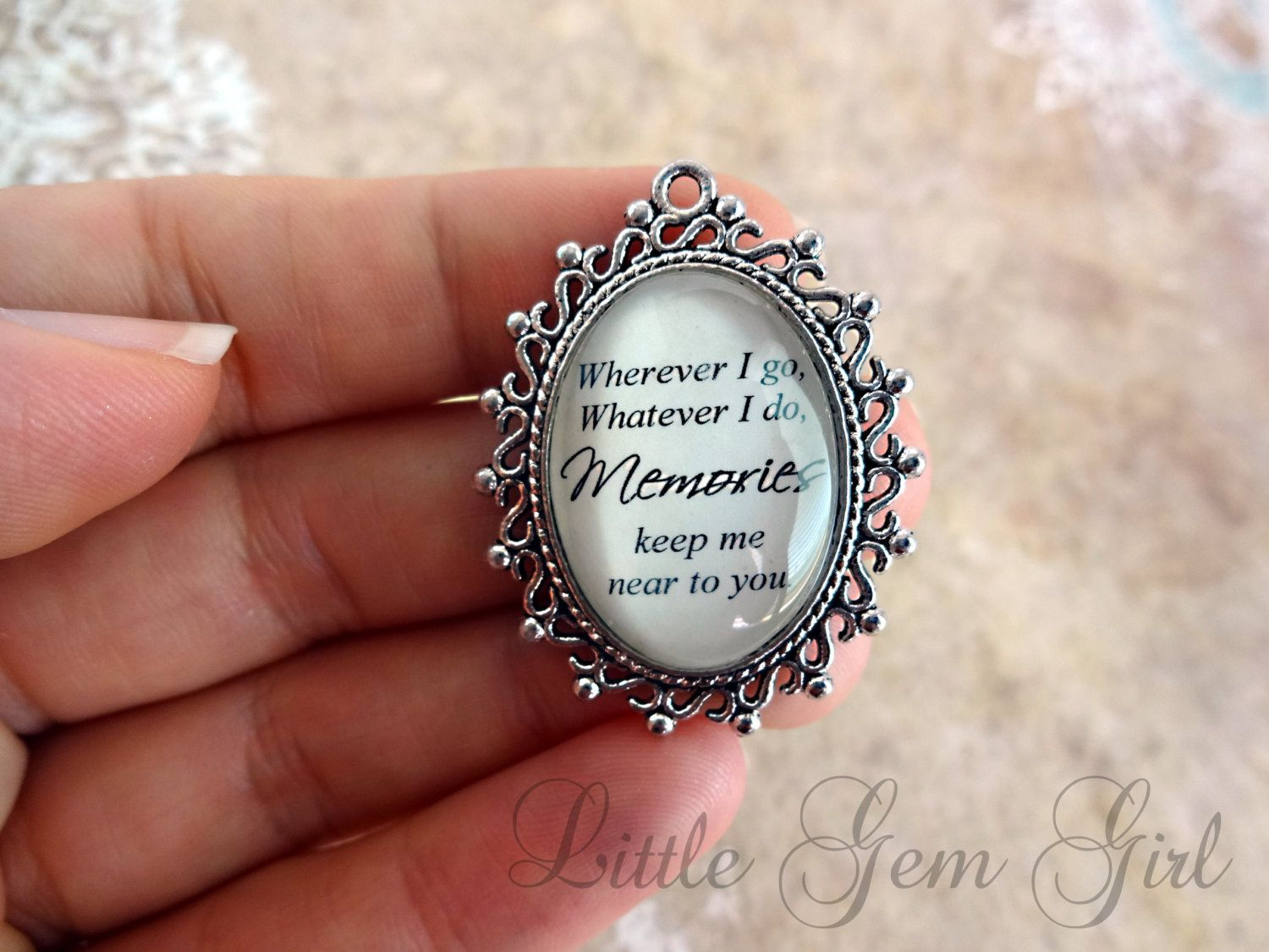 Wedding bouquet charm in memory poem wedding by littlegemgirl wedding bouquet charm in memory poem wedding charm wherever i go whatever i do memories keep me near to you necklace aloadofball Gallery
