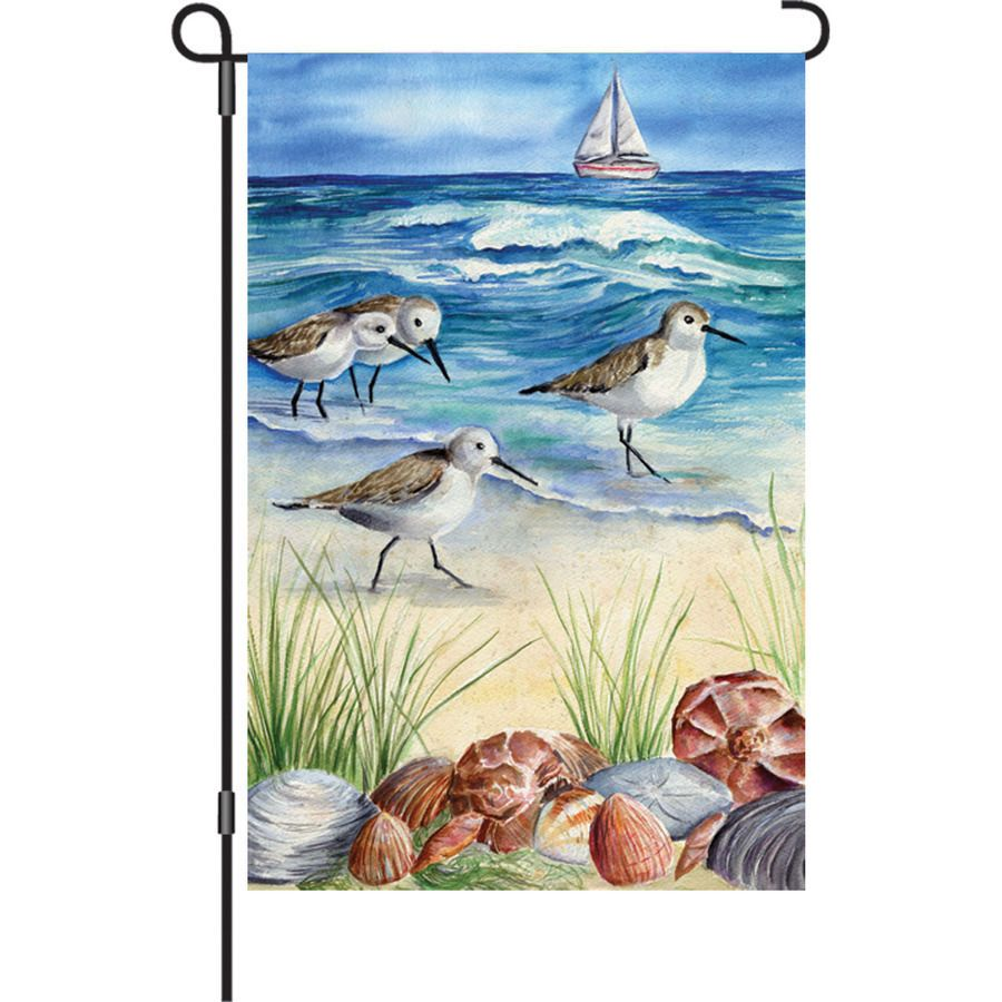 Sandpipers Shore Birds Shells GARDEN Flag NEW Beach Coastal Decor Premier #PremierDesigns