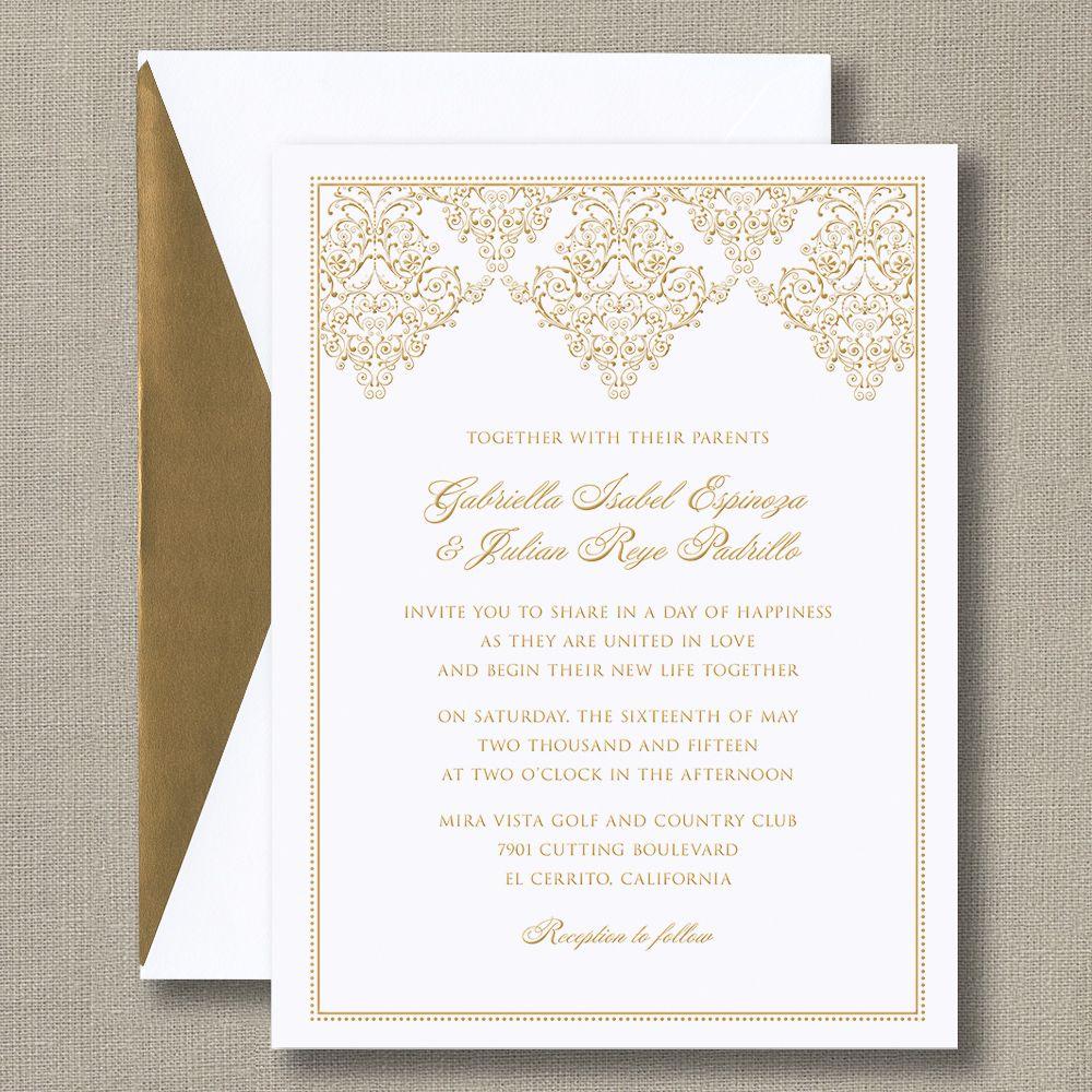Gold Damask Scroll Bright White Wedding Invitations | William Arthur ...