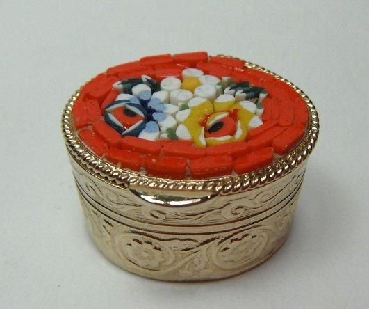Vintage Micro-mosaic Pill  Jewelry Box