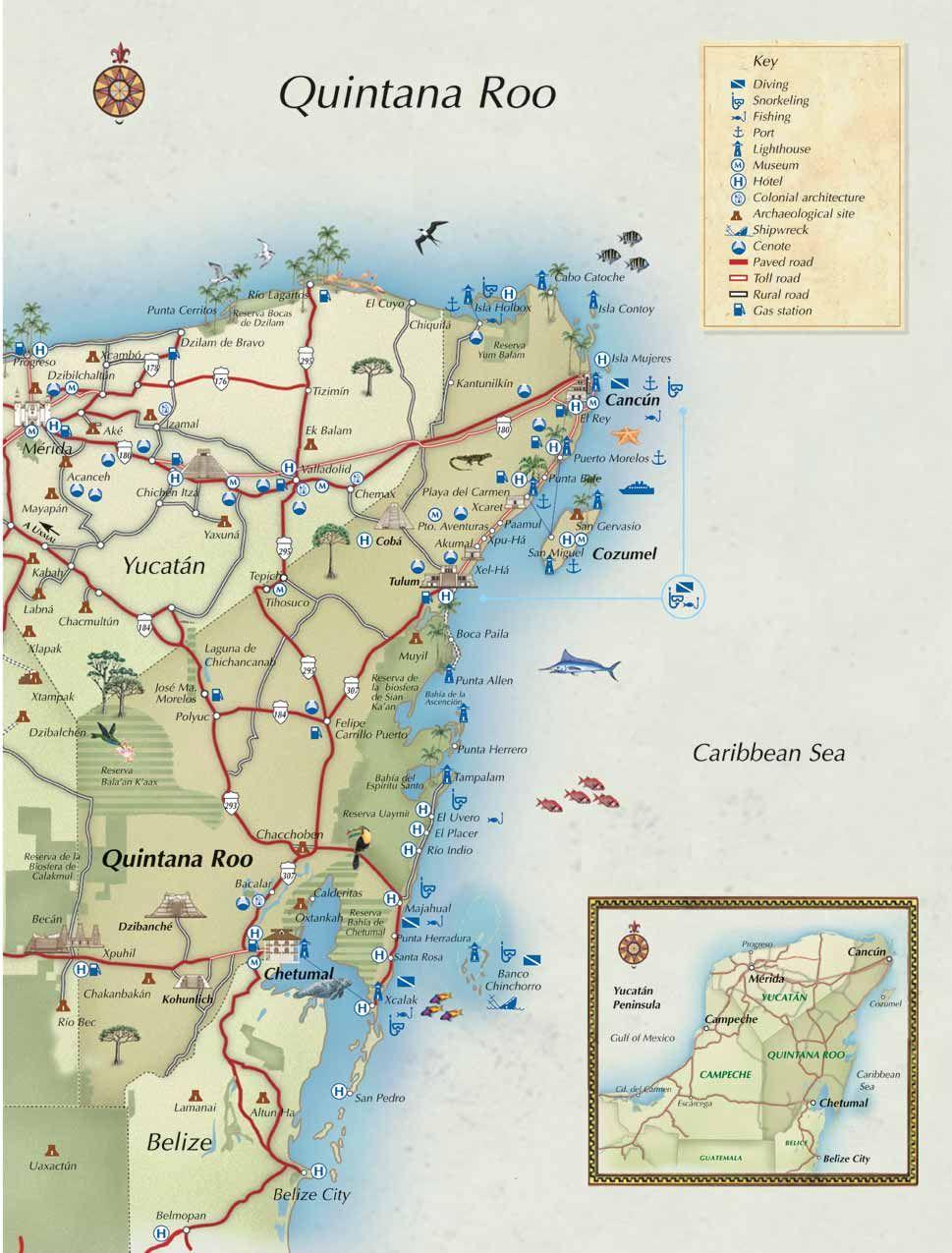 Cancun Quintana Roo Mexico Map.Mapa Turistico Completo De Quintana Roo Y Este De Yucatan