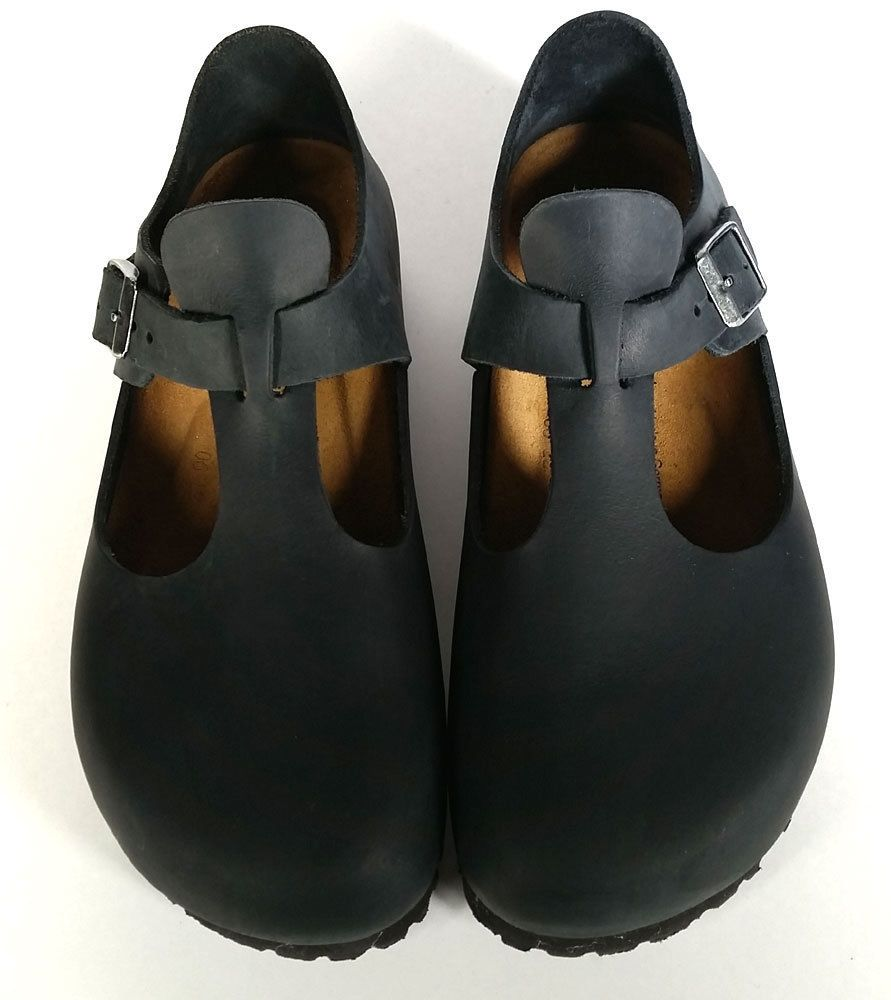 d500202b82641  149 Birkenstock 38  PARIS  BLACK Leather Clogs GERMANY  EXCELLENT  L 7 .