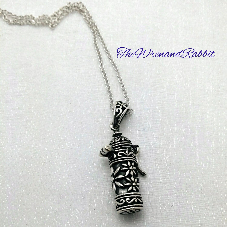 Stash necklace sterling silver secret stash necklace prayer box secret stash necklace solid sterling silver filigree cylinder pendant prayer box wish box aloadofball Gallery