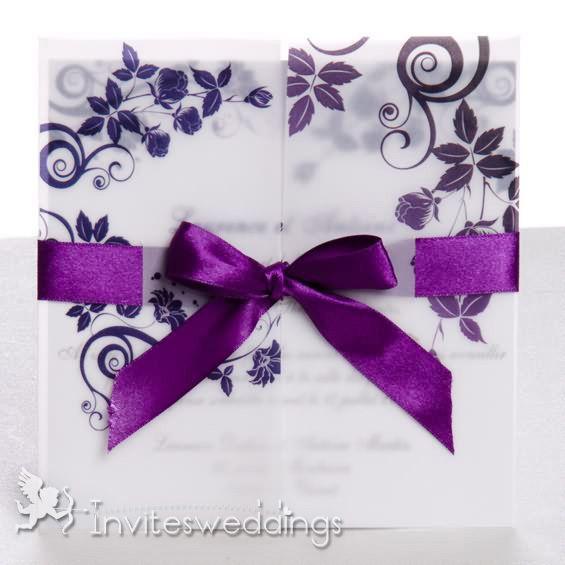 Wedding Invitations Online Roamtic Ribbon And Flowers Purple
