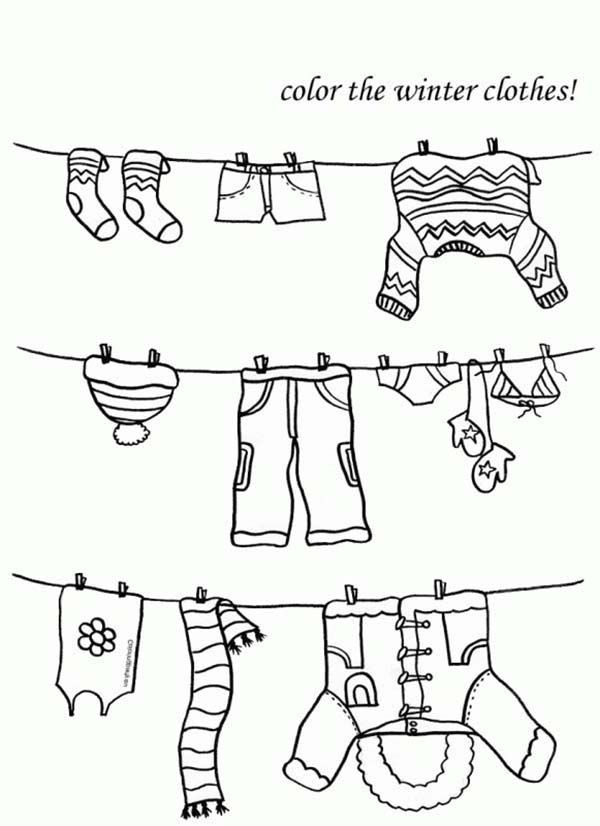iColor ~ Clothesline in winter? Perhaps frozen? Cute picture - best of coloring pages fall and winter