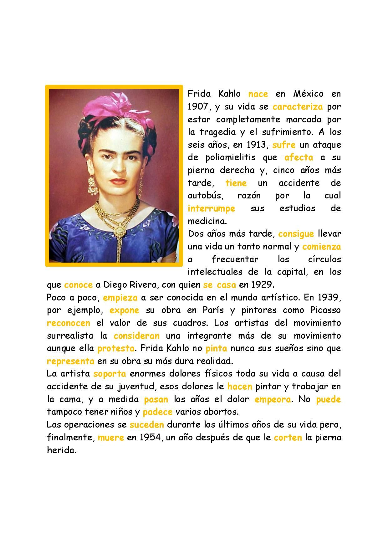 Worksheets Frida Kahlo Worksheets preterite tense with frida kahlo spanish learning pinterest kahlo