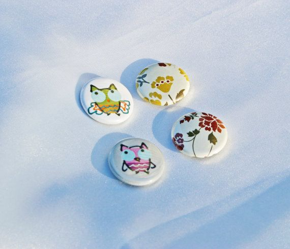 Set 4 Owls Pinback Buttons  By Pocket Bears by PocketBears on Etsy,