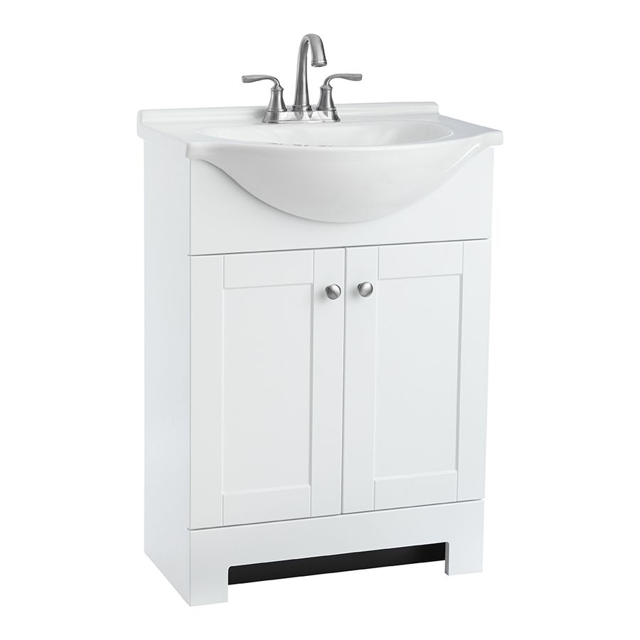 Style Selections Euro White 25 In Integral Single Sink Bathroom Vanity With Cultured Marble Top Paint Myself Bathroom Sink Vanity Single Sink Bathroom Vanity