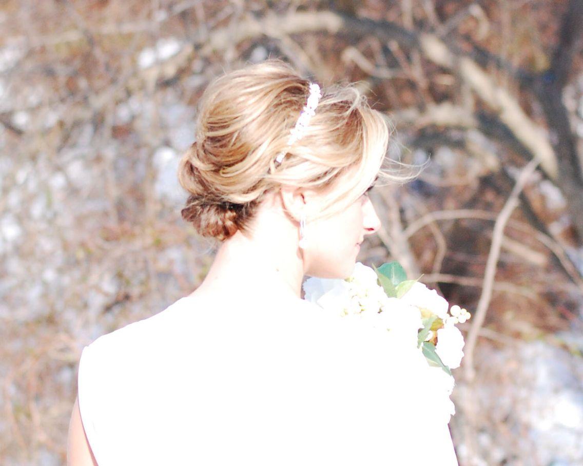 Romantic soft updo for a vintage wedding. Gorgeous rhinestone ...