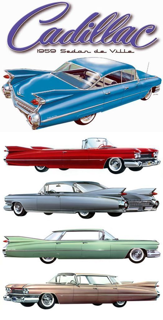 """1959 Cadillacs Note the """"flat-top"""" hard tops, as compared to the 6-window sedan…. – Luxury …"""