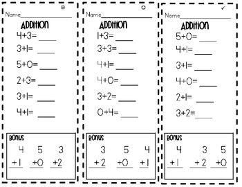 kindergarten timed add subtraction test teaching subtraction math. Black Bedroom Furniture Sets. Home Design Ideas